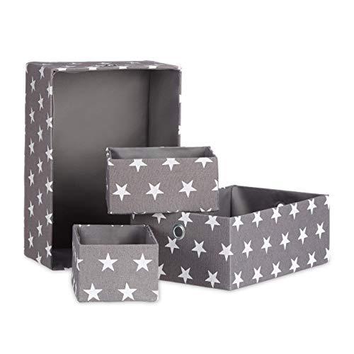 Relaxdays, grau Stoffboxen 4er Set, Aufbewahrungskorb, Regalbox, stapelbar, ohne Deckel, H x B x T ca. 16 x 25,5 x 36 cm