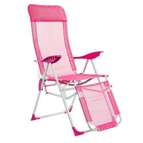 LOLAhome Sillón de Playa Plegable Rosa de Aluminio de 115x61x66 cm