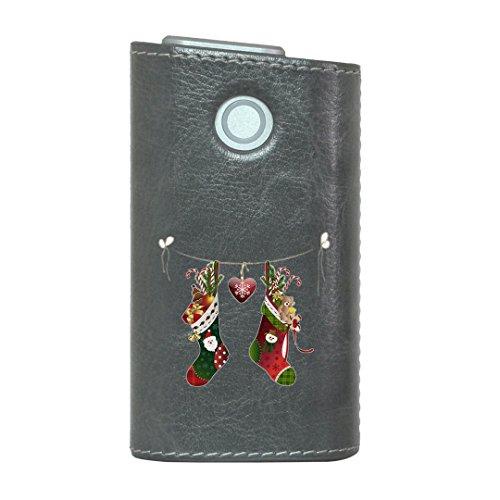 glo グロー グロウ 専用 レザーケース レザーカバー タバコ ケース カバー 合皮 ハードケース カバー 収納 デザイン 革 皮 GRAY グレー クリスマス ハート プレゼント 009968