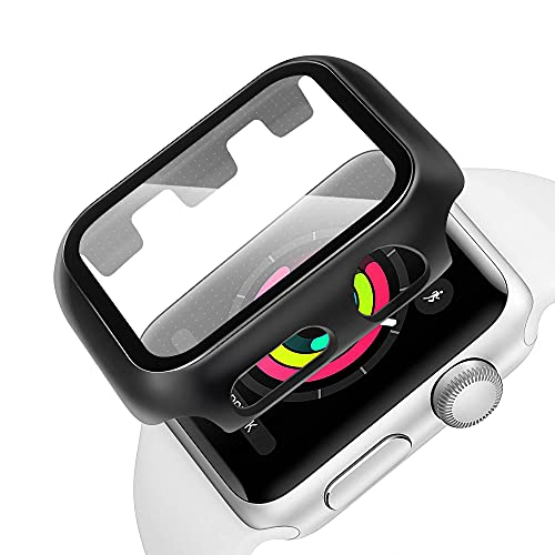 CELLONIC 2x 2 in 1 Compatible Apple Watch Screen Protector for Series 1 2 3 38mm and Apple Watch Case Protector Cover – 9h Tempered Glass, Scratch Resistant, Water Repellent PC Frame