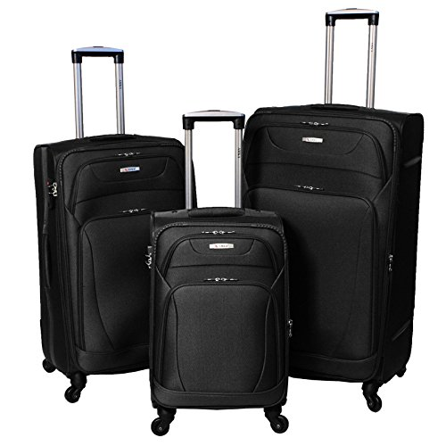 Amka Milenium 3-Piece Expandable Spinner Luggage Set - Black