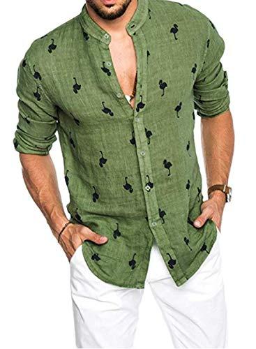 Medium ALVISH Camisa Hawaiana Rosa de Flamenco para Hombre Verde