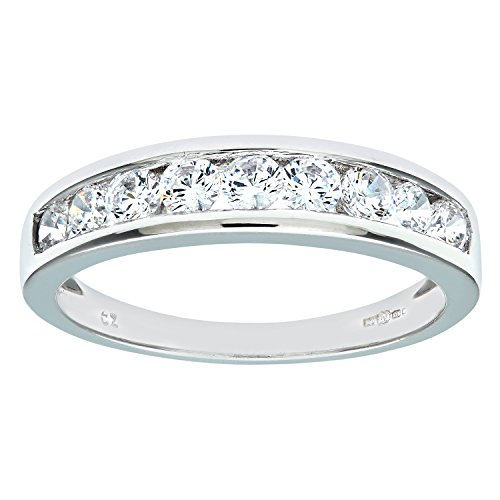 Citerna 9 ct White Gold Eternity Ring with Channel Set Cubic Zirconia,Size -M