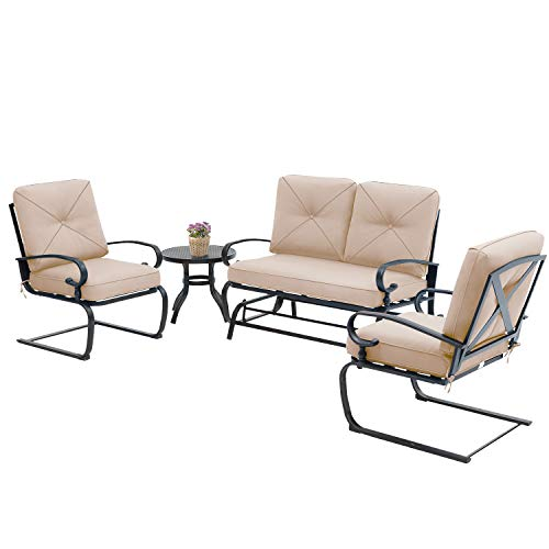 Incbruce 4Pcs Outdoor Patio Furniture Conversation Sets (Loveseat, Bistro Table, 2 Spring Chair) - Swing Glider Patio Bench and Spring Metal Lounge Chairs Sets with Cushions (Brown)