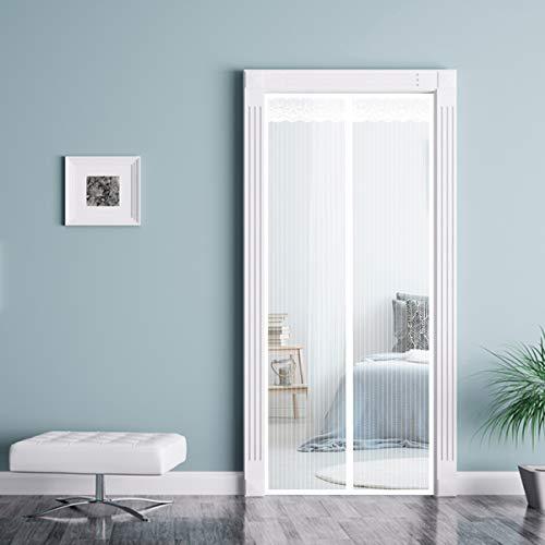 THAIKER Mosquitera Puerta Magnetica, 170x225cm(67x89inch) Mosquiteras a Medida Magnética Automático con Malla Super Fina para para Balcones, Blanco