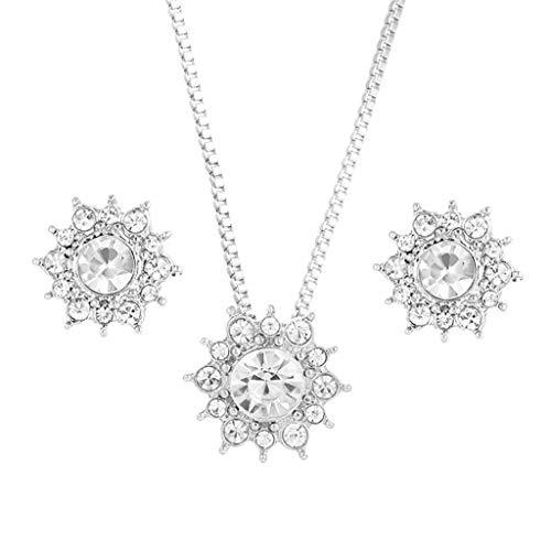 Gmgod������ Collar de pendientes, copo de nieve conjunto de joyas pendientes de...