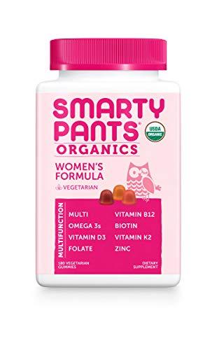 Daily Organic Gummy Women's Multivitamin: Vitamin C, D3 & Zinc for Immunity, Biotin for Hair & Skin, Omega 3 Fish Oil, B6, Selenium, Methyl B12 by SmartyPants (180 Count, 45 Day Supply)