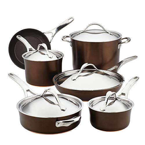 Anolon Nouvelle Copper Hard Anodized Nonstick Cookware Pots and Pans Set, 11 Piece, Sable