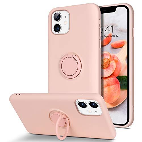 BENTOBEN iPhone 11 Hülle Silikon Case Mit Ring Halter Handschnur, iPhone 11 Handyhülle Slim Kratzfest Flüssigsilikon Gummi mit innem Microfaser Tuch Case Cover für iPhone 11 6.1\'\' Rosa