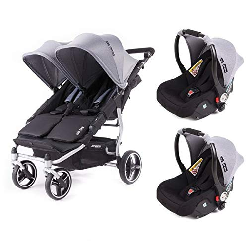 Poussette double Baby Monsters Easy Twin 3S Reversible - Chassis Silver + 2 sièges auto Luna Heather Grey