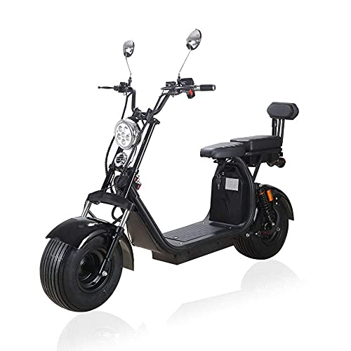 Fat Tire Electric Scooter for Adult 2000W Motor Two Separate 60v Lithium Battery Packs Up 25 MPH Harley Electric Scooters with 2 Seats Citycoco Scooter Commuter Scooter