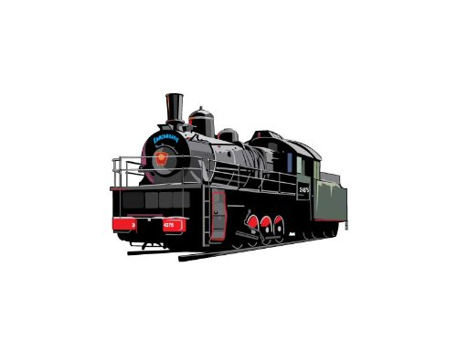 Vehicle Wall Decals - Black Steam Engine Train - 12 inch Removable Graphic