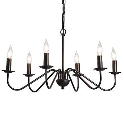 6-Light Chandelier Industrial Rustic Farmhouse Black Candle Pendant Lighting for Foyer Living Room Kitchen Island Dining Room Bedroom