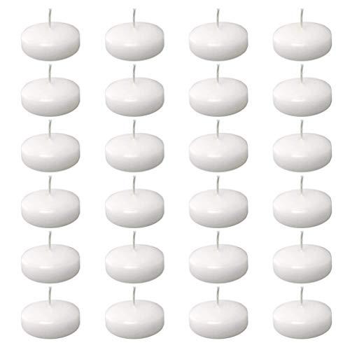 Uonlytech Velas flotantes blancas resistentes al agua, sin humo, románticas, para piscina, bañera, estanque, fiesta, festival, boda, día de San Valentín, cumpleaños, 24 unidades