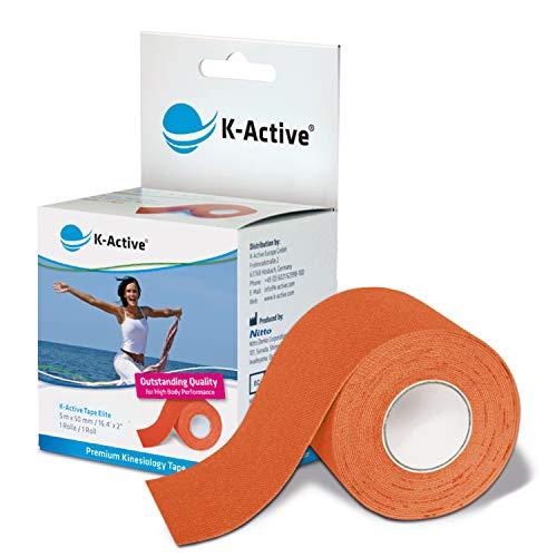 K-Active Tape Elite | Kinesiologie Tape | Sanftes Tape mit starkem Halt | extra hautfreundlicher Kleber | tape kinesio wasserfest & elastisch | [5cmx5m] | orange