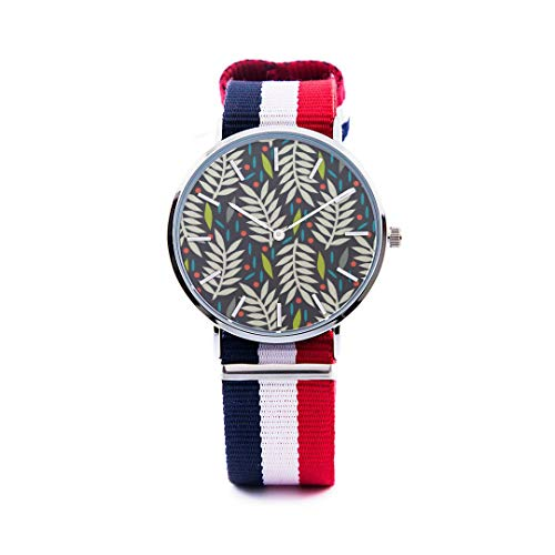 Unisex Fashion Watch Abstract Background Maple Leaf Aspen Leaf Pumpkin Autumn Design Print Dial Quartz Stainless Steel Wrist Watch with Nylon NATO Strap Watchband for Women 36mm Casual Watch -  NQEONR, 20190321-NylonWatch-345-386530339
