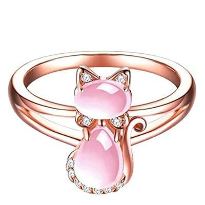 Jude Jewelers Rose Gold Pink Fleurstone Cat Rhinestones Animal Ring Women Kids (9)