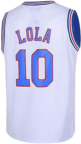 Space Jam Movie Basketball Tune Squad Jersey # 10 White Black Red Halloween hot (White, Small)