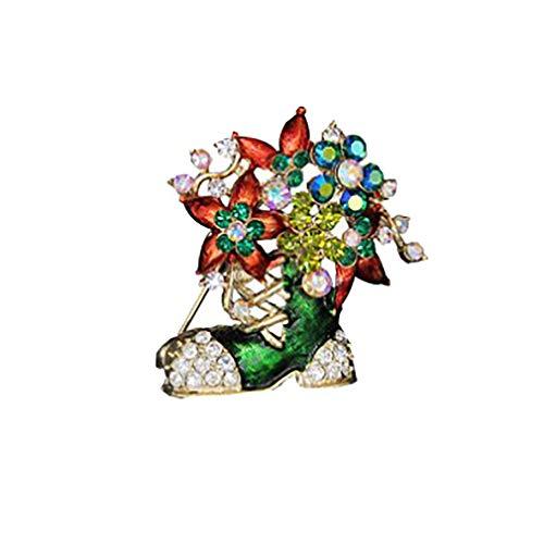 Meigold Weihnachten Brosche Weihnachtsschuhe Brosche Bekleidung Zubehör Unisex Brosche Corsage Pins Legierung Öltropfen size 4.5 * 4.5cm