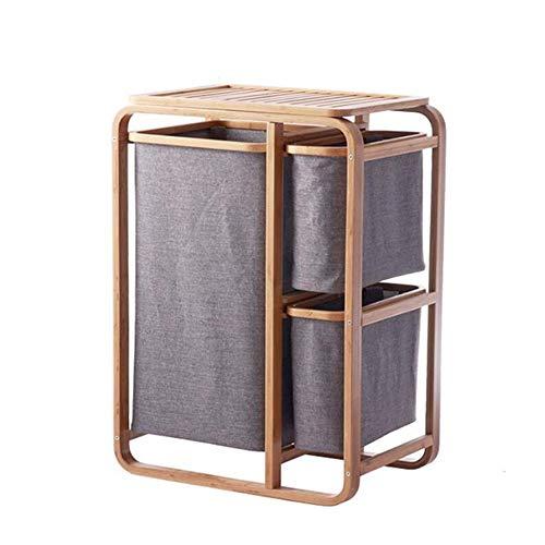 Jcnfa-bijzettafel Bamboe/houten frame, Kleding Opbergmandje, Badkamer plank Aparte lade Opslagrack, Kleding Mand