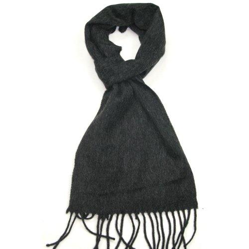 LOVARZI Écharpes en laine pour hommes et femmes - Noir - écharpe unisexe en laine d'agneau