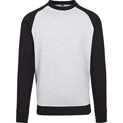 Build Your Brand Herren Raglan Crew Neck Shirt (L) (Grau/Schwarz)