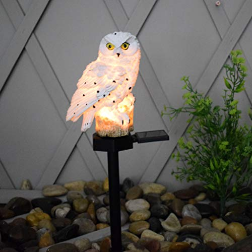 ZHIRCEKE Solar LED resin owl ground plug lamp, lawn lamp decoration ornaments handicraft landscape lamp, waterproof and durable, strong observability,White