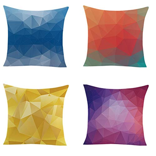 HOUMEL kvadratiska kuddöverdrag färgglada geometriska speglar rumskuddöverdrag överdrag soffkuddar Home Decor 4-pack for vardagsrum soffa bil sovrum 45 x 45 cm (18 tum x 18 tum)