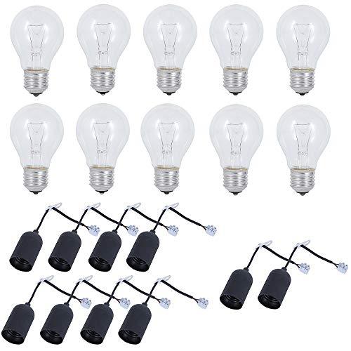 LHG Renovier-Fassung 10er Set + 10x Glühlampen 60W E27 230V | Baustellen-Fassung + Leuchtmittel | Lampenfassung mit Lüsterklemme | Baufassung + Spannungsprüfer