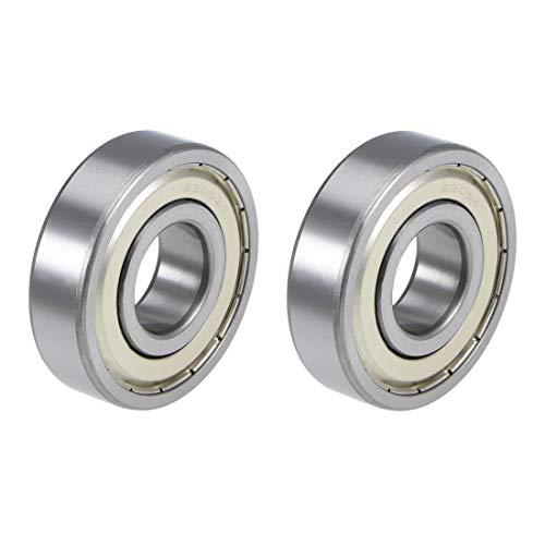 uxcell 6305ZZ Deep Groove Ball Bearings Z2 25mm x 62mm x 17mm Double Shielded Chrome Steel 2pcs