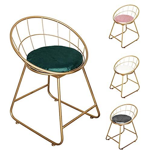 Taburete altura 45 cm restaurante silla bar taburete silla de café con patas de metal y respaldo alto hueco para dormitorio o sala de estar asiento acolchado corteza
