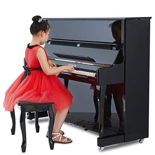 Mikeson Piano electrónico Pintura Inteligente práctica Profesional 88 Teclas Martillo Digital Piano Vertical (Incluido Banco),Negro