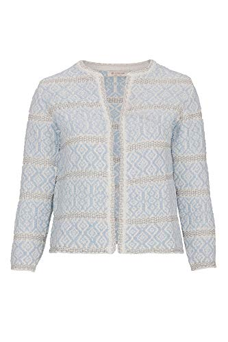 rich&royal Damen Cardigan Strickjacke, Blau (Light Blue 723), Small