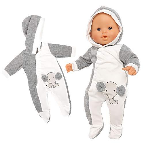 Miunana Abito Pagliaccetti Stampa Elefante per 36 CM - 42 CM (14 Pollici - 16 Pollici) Baby Dolls Bambola bebé E Altre Bambole, Bambolotti Amore Mio (Non Include Bambola)