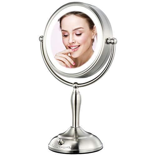 "MIRRORMORE Professional 7.5"" Lighted Makeup Mirror, 10X Magnifying Vanity Mirror with 28 Medical LED Lights, Senior Pearl Nickel Cosmetic Mirror, Brightness Adjustable(0-1100Lux) Desk Lamp Alternative"