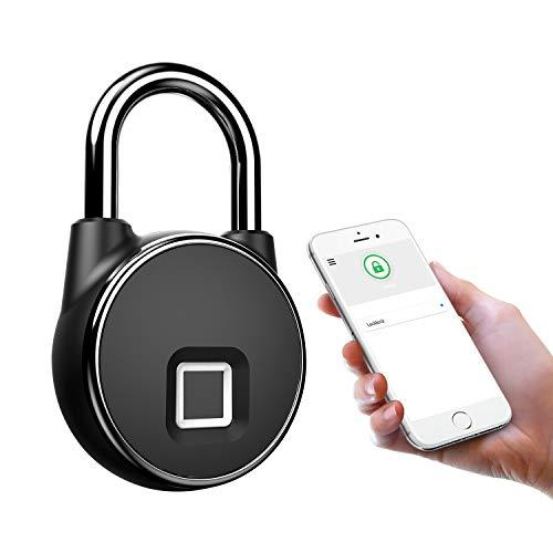 Candado inteligente Bluetooth impermeable, sin llave, cerradura de huellas dactilares, antirrobo de seguridad, para puerta, bolsa, cajón, maleta, etc.