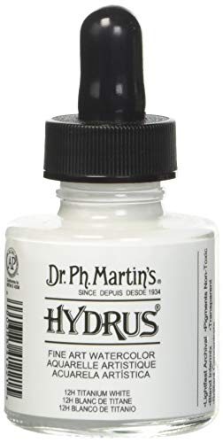 Dr. Ph. Martin's Hydrus Fine Art Watercolor (12H) Watercolor Bottle, 1.0 oz, Titanium White, 1 Bottle