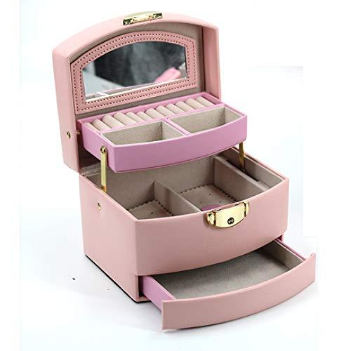 Boîte à Bijoux Sac Cosmétique Multi-Fonction Boîte de Rangement en Cuir imperméable à l'eau de Voyage à Domicile Grande capacité Multicouche Rose