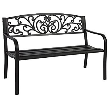 Best Choice Products Steel Park Bench Porch Furniture for Outdoor, Garden, Patio - Black