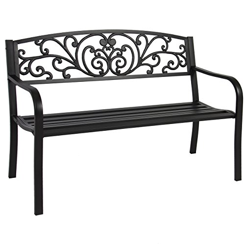 Best Choice Products 50-inch Outdoor Steel Park Bench w/Slatted Seat and Floral Scroll Design, Black