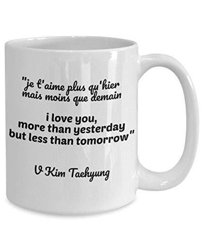 N\A Taza de café BTS V Kim Taehyung Lema Je t39aime Te Amo más Mercancía de Bangtan Boys para Amantes de BTS Mercancía de Army BTS para niñas