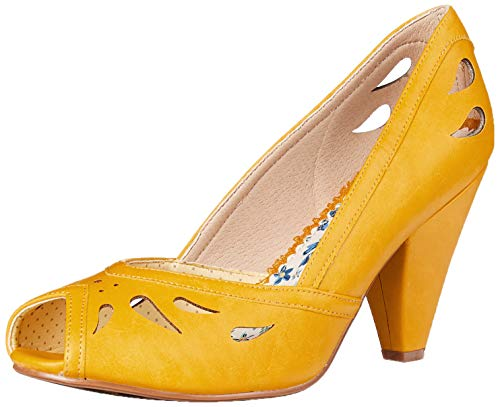 Bettie Page womens Pinup, Retro, Vintage Pump, Yellow, 9 US