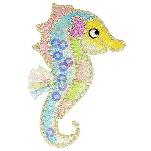 M & C Aufnäher zum Aufbügeln Sequins Seepferdchen Mehrfarbig 2,5 cm x 5,5 cm