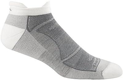 Darn Tough Run/Bike Light Cushion No Show Tab Sock - Men's White/Gray Large