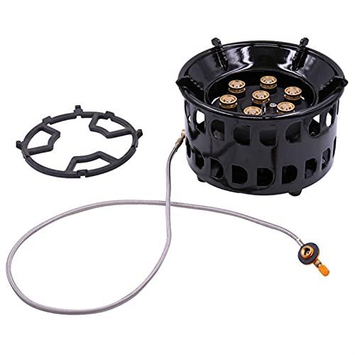 Herramientas de cocina al aire libre Estufa de gas al aire libre quemador azul llama 7 agujeros de fuego quemador de gas quemador de fuego de fuego de esmalte ajustable Calentador de capa de esmalte p