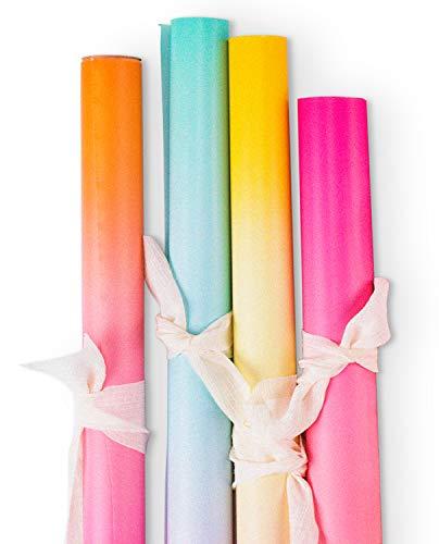 RUSPEPA Geschenkpapierrolle - Farbverlauf Für Geburtstag, Hochzeit, Urlaub, Babyparty Geschenkverpackung - 4 Rollen - 76 cm X 305 cm Pro Rolle
