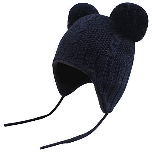 XIAOHAWANG Baby Knit Hat Boys Cute Pompom Ears Kids Winter Caps Girls Toddler Earflap Beanies (Navy, M(10-24 Months)) (Apparel)