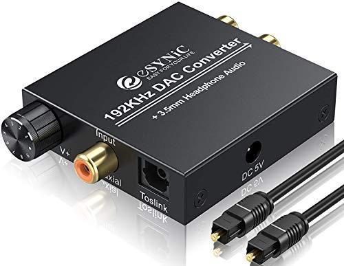 ESYNiC DAC Convertitore 192kHz Volume Regolabile Convertitore Audio Digitale a Analogico con Cavo Ottico Adattatore Audio da SPDIF Toslink Coassiale a L/R RCA 3.5mm Stereo per DVD HD Lettore