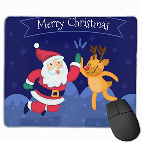 Cute Clapping Santa Claus and Reindeer Non Slip Personality Designs Gaming Mouse Pad Black Cloth Rectangle Mousepad Art Natural Rubber Mouse Mat with Stitched Edges