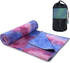 Yoga Mat Towel Non Slip Hot Yoga Towel, tie-Dyed, Sweat Absorbent, for Hot Yoga, Bikram, Pilates (Tie-Dyed Pink)